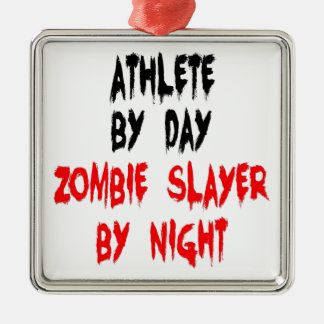 Zombie Slayer Athlete Metal Ornament