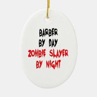 Zombie Slayer Barber Ceramic Oval Ornament