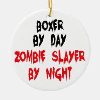Zombie Slayer Boxer Dog Round Ceramic Ornament