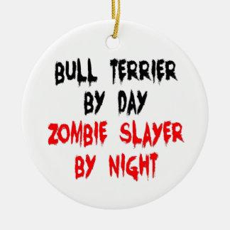 Zombie Slayer Bull Terrier Dog Ceramic Ornament