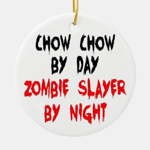 Zombie Slayer Chow Chow Dog Christmas Tree Ornament