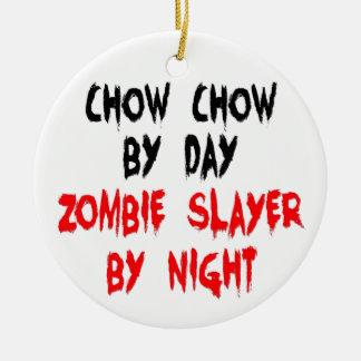 Zombie Slayer Chow Chow Dog Round Ceramic Ornament