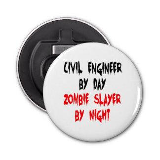 Zombie Slayer Civil Engineer Button Bottle Opener