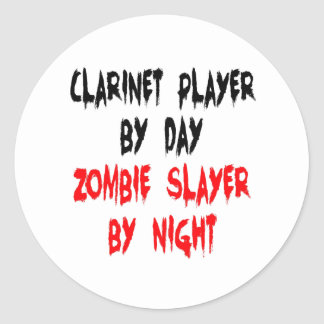 Zombie Slayer Clarinet Player Classic Round Sticker