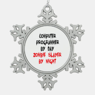 Zombie Slayer Computer Programmer Pewter Snowflake Ornament