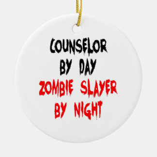 Zombie Slayer Counselor Round Ceramic Ornament