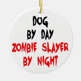 Zombie Slayer Dog Ceramic Ornament