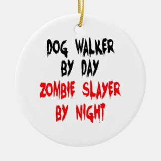 Zombie Slayer Dog Walker Ceramic Ornament