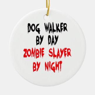 Zombie Slayer Dog Walker Round Ceramic Ornament