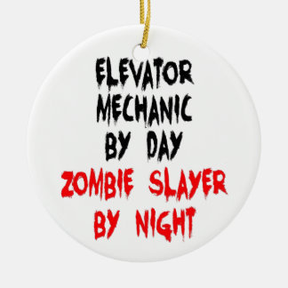 Zombie Slayer Elevator Mechanic Ceramic Ornament