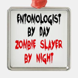 Zombie Slayer Entomologist Silver-Colored Square Ornament