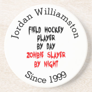 Zombie Slayer Field Hockey Player Coasters