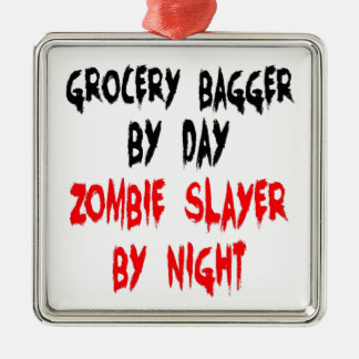 Zombie Slayer Grocery Bagger Metal Ornament
