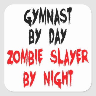 Zombie Slayer Gymnast Square Sticker