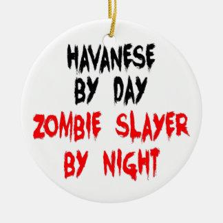 Zombie Slayer Havanese Dog Round Ceramic Ornament