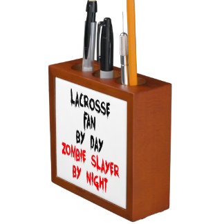 Zombie Slayer Lacrosse Fan Desk Organizer