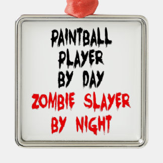 Zombie Slayer Paintball Player Metal Ornament