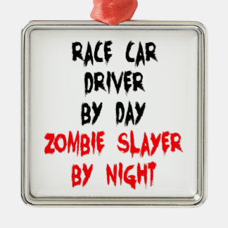 Zombie Slayer Race Car Driver Metal Ornament