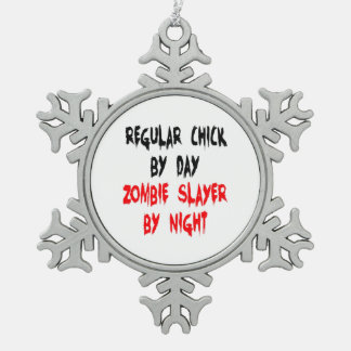Zombie Slayer Regular Chick Snowflake Pewter Christmas Ornament