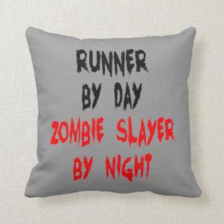 Zombie Slayer Runner Throw Pillow