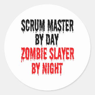 Zombie Slayer Scrum Master Round Sticker