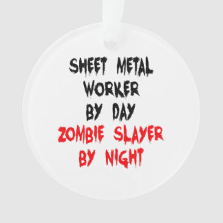Zombie Slayer Sheet Metal Worker Ornament