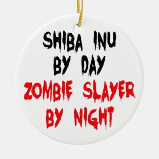 Zombie Slayer Shiba Inu Dog Ceramic Ornament