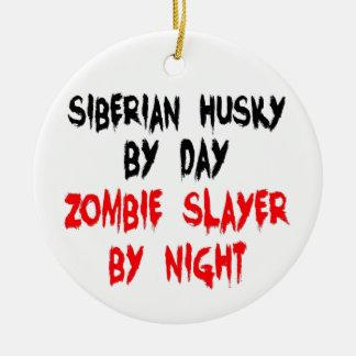 Zombie Slayer Siberian Husky Ceramic Ornament