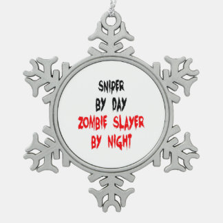 Zombie Slayer Sniper Snowflake Pewter Christmas Ornament