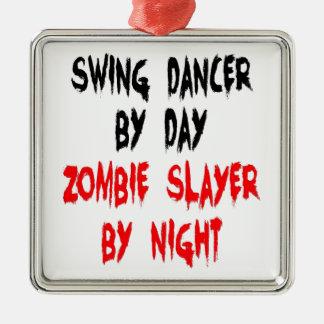 Zombie Slayer Swing Dancer Silver-Colored Square Ornament