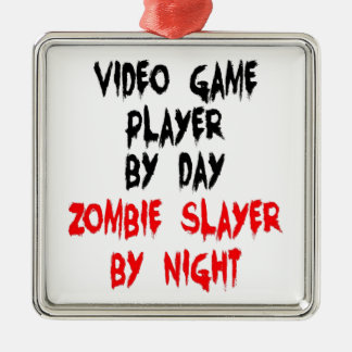 Zombie Slayer Video Game Player Silver-Colored Square Ornament