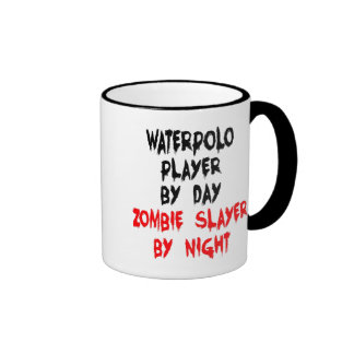 Zombie Slayer Waterpolo Player Ringer Mug