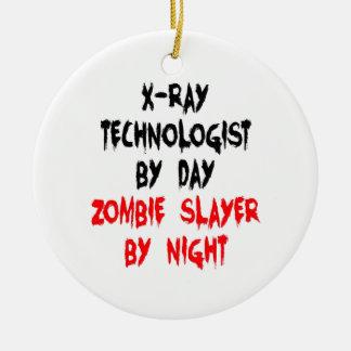 Zombie Slayer xRay Technologist Round Ceramic Ornament