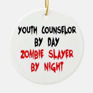 Zombie Slayer Youth Counselor Ceramic Ornament