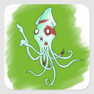 Zombie Squid Square Sticker