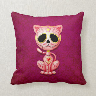 Zombie Sugar Kitten, pink Throw Pillow