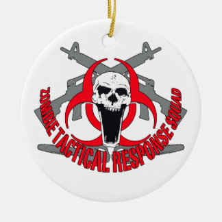 Zombie tactical red round ceramic ornament