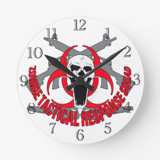 Zombie tactical red round clock