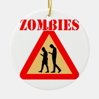 Zombie Teens With Cell Phones Ceramic Ornament