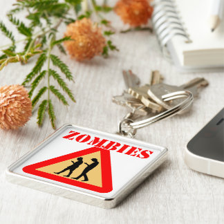 Zombie Teens With Cell Phones Silver-Colored Square Keychain