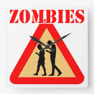 Zombie Teens With Cell Phones Square Wall Clock