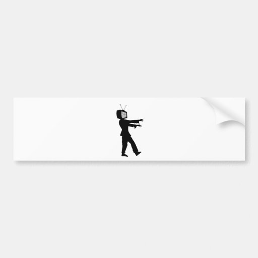 Zombie TV Guy by Chillee Wilson Bumper Stickers