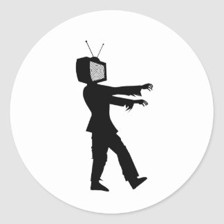 Zombie TV Guy by Chillee Wilson Round Sticker