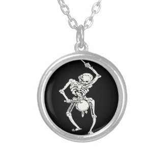 Zombie Undead Skeleton Marching and Beating A Drum Round Pendant Necklace