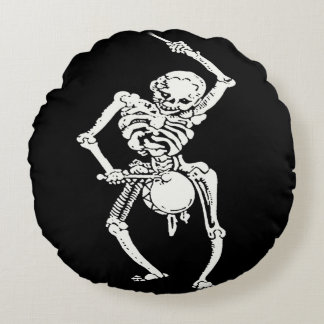 Zombie Undead Skeleton Marching and Beating A Drum Round Pillow