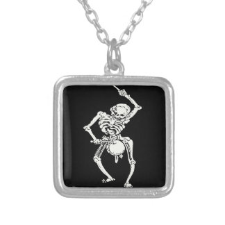 Zombie Undead Skeleton Marching and Beating A Drum Square Pendant Necklace