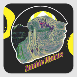 Zombie Walrus Yellow/Purple Square Sticker