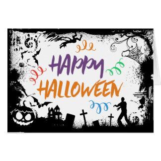 Zombie Werewolf Graveyard Happy Halloween Card