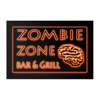Zombie Zone Bar & Grill Faux Neon Sign Acrylic Wall Art