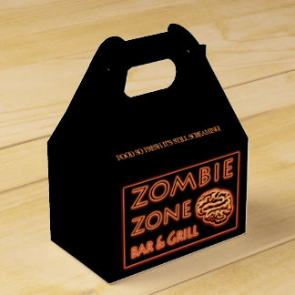 Zombie Zone Bar N Grill Brains Takeout Halloween Wedding Favor Boxes